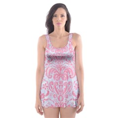 Damask2 White Marble & Pink Watercolor (r) Skater Dress Swimsuit