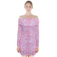 Damask2 White Marble & Pink Watercolor (r) Long Sleeve Off Shoulder Dress