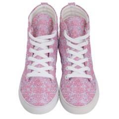 Damask2 White Marble & Pink Watercolor (r) Men s Hi Top Skate Sneakers