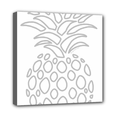 Pinapplesilvergray Mini Canvas 8  X 8