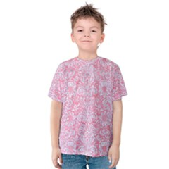 Damask2 White Marble & Pink Watercolor Kids  Cotton Tee