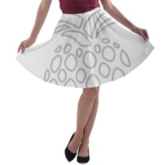 Pinapplesilvergray A Line Skater Skirt