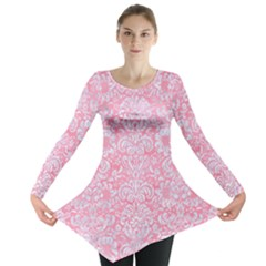 Damask2 White Marble & Pink Watercolor Long Sleeve Tunic