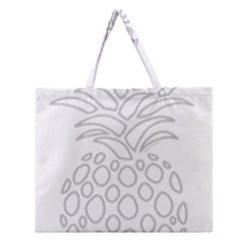 Pinapplesilvergray Zipper Large Tote Bag
