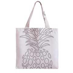 Pinapplesilvergray Zipper Grocery Tote Bag