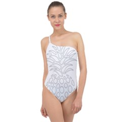 Pinapplesilvergray Classic One Shoulder Swimsuit