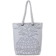 Pinapplesilvergray Full Print Rope Handle Tote (small)