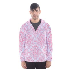Damask1 White Marble & Pink Watercolor (r) Hooded Windbreaker (men)