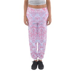 Damask1 White Marble & Pink Watercolor (r) Women s Jogger Sweatpants