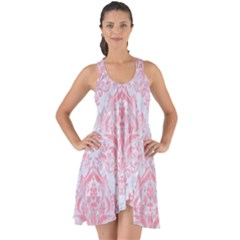 Damask1 White Marble & Pink Watercolor (r) Show Some Back Chiffon Dress