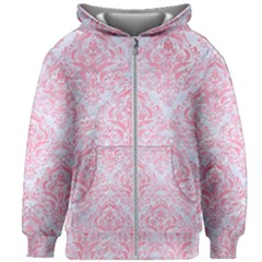 Damask1 White Marble & Pink Watercolor (r) Kids Zipper Hoodie Without Drawstring
