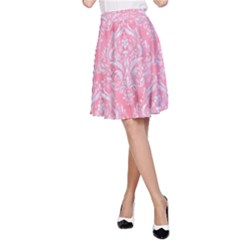 Damask1 White Marble & Pink Watercolor A Line Skirt