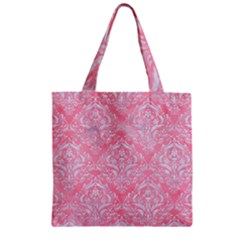 Damask1 White Marble & Pink Watercolor Zipper Grocery Tote Bag