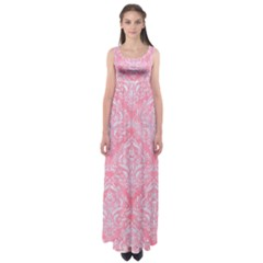 Damask1 White Marble & Pink Watercolor Empire Waist Maxi Dress