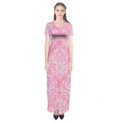 Damask1 White Marble & Pink Watercolor Short Sleeve Maxi Dress