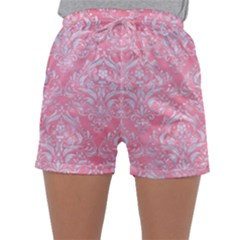Damask1 White Marble & Pink Watercolor Sleepwear Shorts
