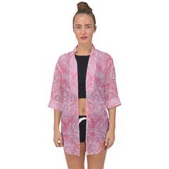 Damask1 White Marble & Pink Watercolor Open Front Chiffon Kimono