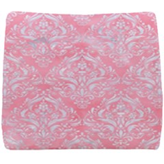 Damask1 White Marble & Pink Watercolor Seat Cushion by trendistuff