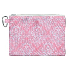 Damask1 White Marble & Pink Watercolor Canvas Cosmetic Bag (xl)
