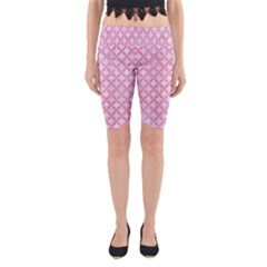 Circles3 White Marble & Pink Watercolor (r) Yoga Cropped Leggings