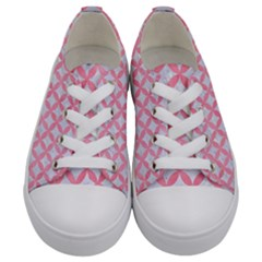 Circles3 White Marble & Pink Watercolor (r) Kids  Low Top Canvas Sneakers