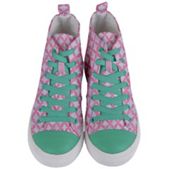 Circles3 White Marble & Pink Watercolor (r) Women s Mid Top Canvas Sneakers