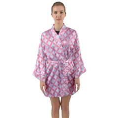 Circles3 White Marble & Pink Watercolor (r) Long Sleeve Kimono Robe