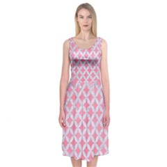 Circles3 White Marble & Pink Watercolor Midi Sleeveless Dress