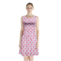 Circles3 White Marble & Pink Watercolor Sleeveless Waist Tie Chiffon Dress