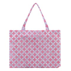 Circles3 White Marble & Pink Watercolor Medium Tote Bag
