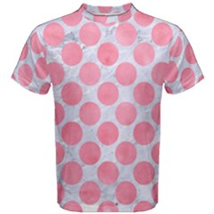 Circles2 White Marble & Pink Watercolor (r) Men s Cotton Tee