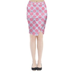 Circles2 White Marble & Pink Watercolor (r) Midi Wrap Pencil Skirt