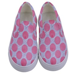 Circles2 White Marble & Pink Watercolor (r) Kids  Canvas Slip Ons