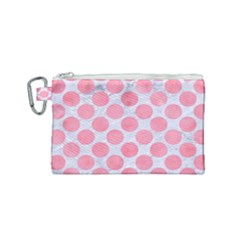 Circles2 White Marble & Pink Watercolor (r) Canvas Cosmetic Bag (small)