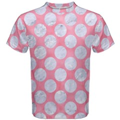 Circles2 White Marble & Pink Watercolor Men s Cotton Tee