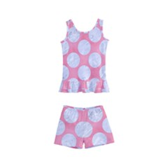 Circles2 White Marble & Pink Watercolor Kid s Boyleg Swimsuit