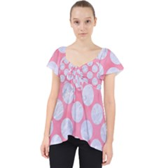 Circles2 White Marble & Pink Watercolor Lace Front Dolly Top
