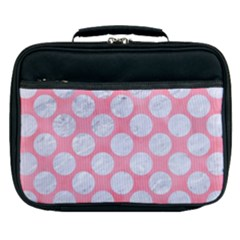 Circles2 White Marble & Pink Watercolor Lunch Bag