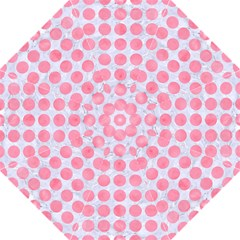 Circles1 White Marble & Pink Watercolor (r) Golf Umbrellas