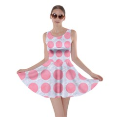 Circles1 White Marble & Pink Watercolor (r) Skater Dress