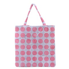 Circles1 White Marble & Pink Watercolor (r) Grocery Tote Bag