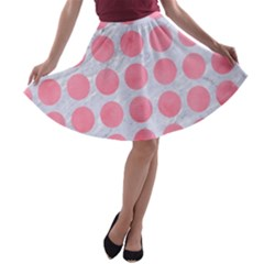 Circles1 White Marble & Pink Watercolor (r) A Line Skater Skirt