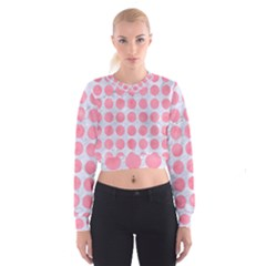 Circles1 White Marble & Pink Watercolor (r) Cropped Sweatshirt