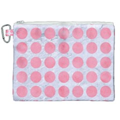 Circles1 White Marble & Pink Watercolor (r) Canvas Cosmetic Bag (xxl) by trendistuff