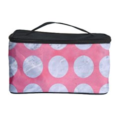 Circles1 White Marble & Pink Watercolor Cosmetic Storage Case