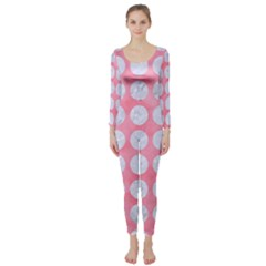 Circles1 White Marble & Pink Watercolor Long Sleeve Catsuit