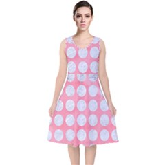 Circles1 White Marble & Pink Watercolor V Neck Midi Sleeveless Dress