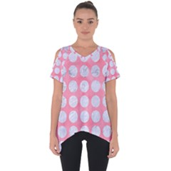 Circles1 White Marble & Pink Watercolor Cut Out Side Drop Tee