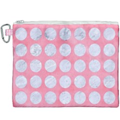 Circles1 White Marble & Pink Watercolor Canvas Cosmetic Bag (xxxl)