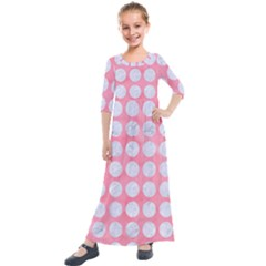 Circles1 White Marble & Pink Watercolor Kids  Quarter Sleeve Maxi Dress